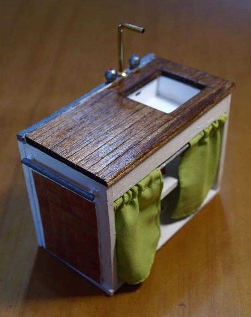 DIY Miniature Dollhouse Sink (skirted)