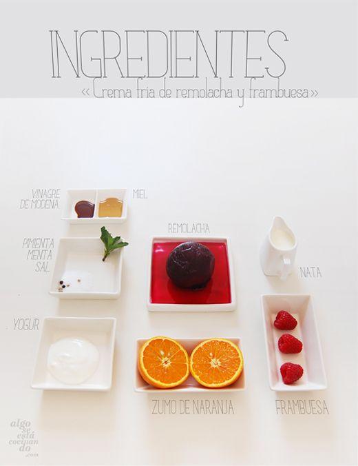 Ingredientes para una crema fría de remolacha y frambuesa