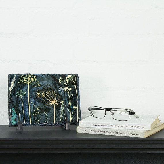 Decoratieve BloemenGift, winderige, Art leisteen Print