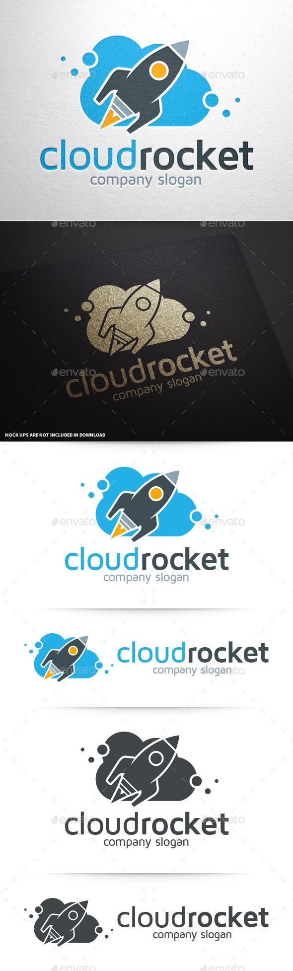 Cloud Rocket Logo Template — Vector EPS #space #science • Available here → https://graphicriver.net/item/cloud-rocket-logo-template/11250272?ref=pxcr