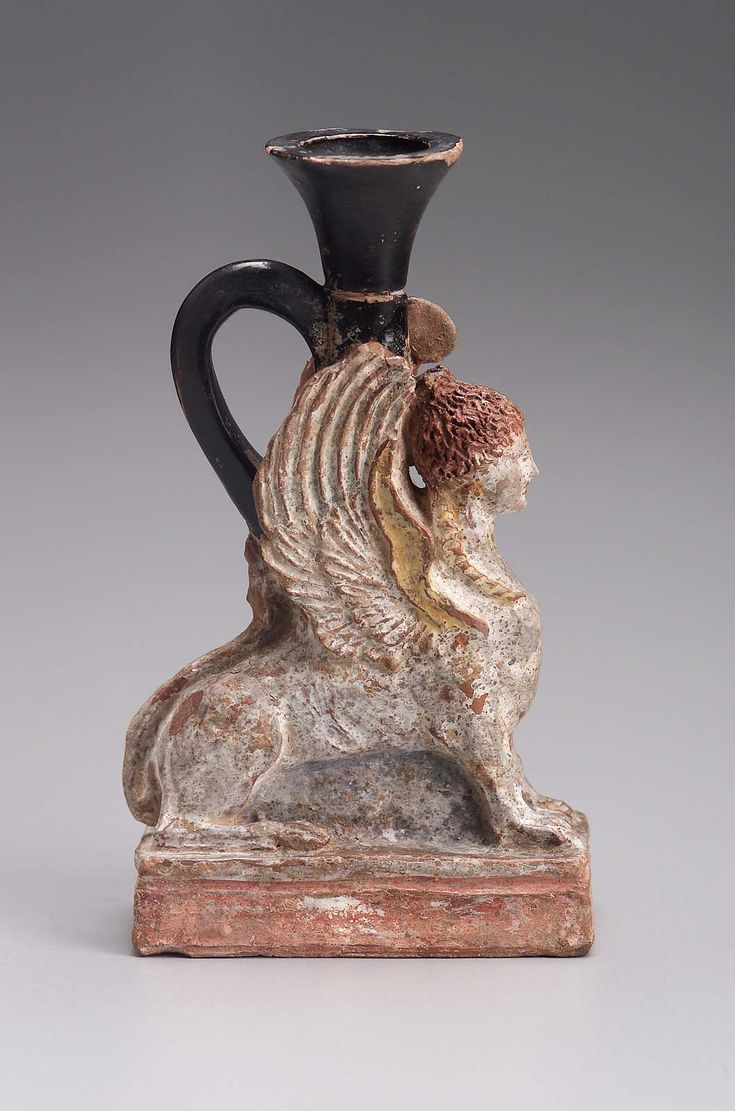 Oil flask (lekythos) in the form of a sphinx  Greek  Late Classical Period  about 350–325 B.C.  Place of Manufacture: Greece, Attica, Athens