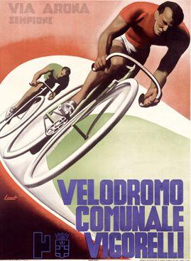 By Gino Boccasile (1901-1952), Bicycle Velodromo Communale Vigorelli. (I) | #marketingsportowy #marketingsportu #kolarstwo