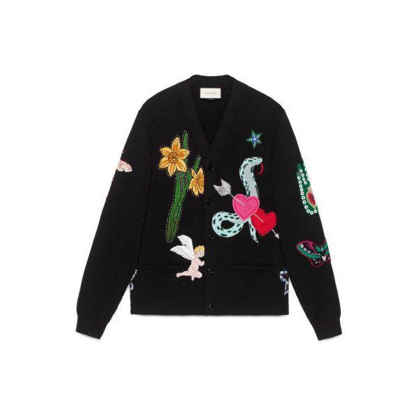 Gucci Herren Cardigan aus Wolle mit Stickereien - reduziert ($4,330) ❤ liked on Polyvore featuring tops, cardigans, gucci, gucci cardigan, gucci tops and cardigan top