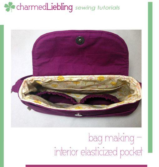 charmed Liebling bag making tutorial: interior elasticized pocket