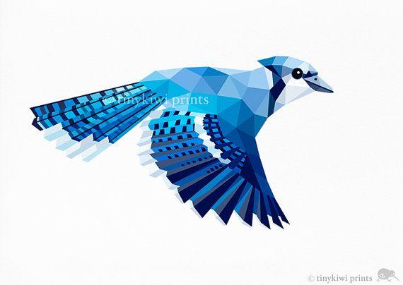 Flying Blue Jay. Afdrukken van een originele ondertekende ...