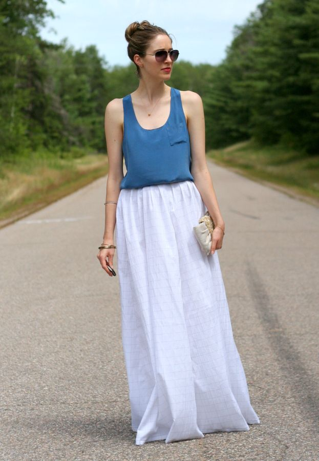 Blue silk tank and a white cotton maxi skirt