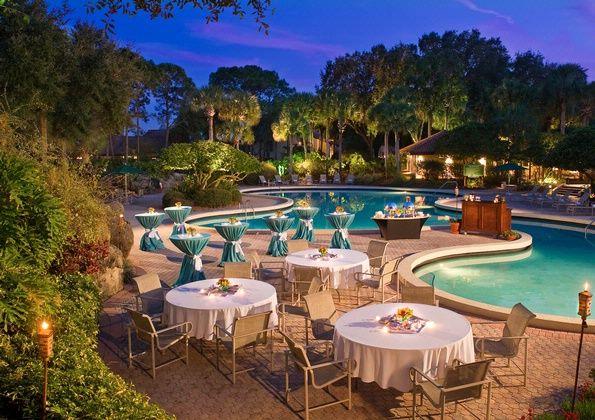 Evening pool #wedding #reception