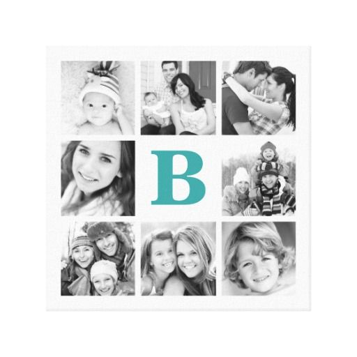 Custom Monogram Family Photo Collage Canvas                                                                                                                                                                                 More