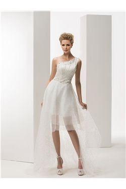 All Sizes Asymmetry Lace-up Beading Beach  Natural Glamorous & Dramatic A-line Wedding Dress