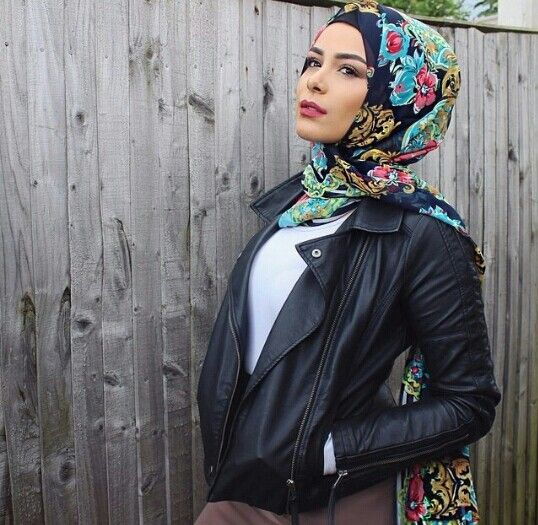 Pretty scarf contrasted with tough girl leather jacket look - love!