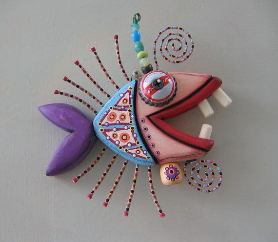 Twisted Piranha Original Found Object Wall Art by FigJamStudio, $68.00