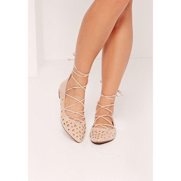Missguided Studded Toe Detail Lace Up Flats ($43) ❤ liked on Polyvore featuring shoes, flats, nude, studded flats, laced up shoes, studded flat shoes, studded shoes and flat pumps