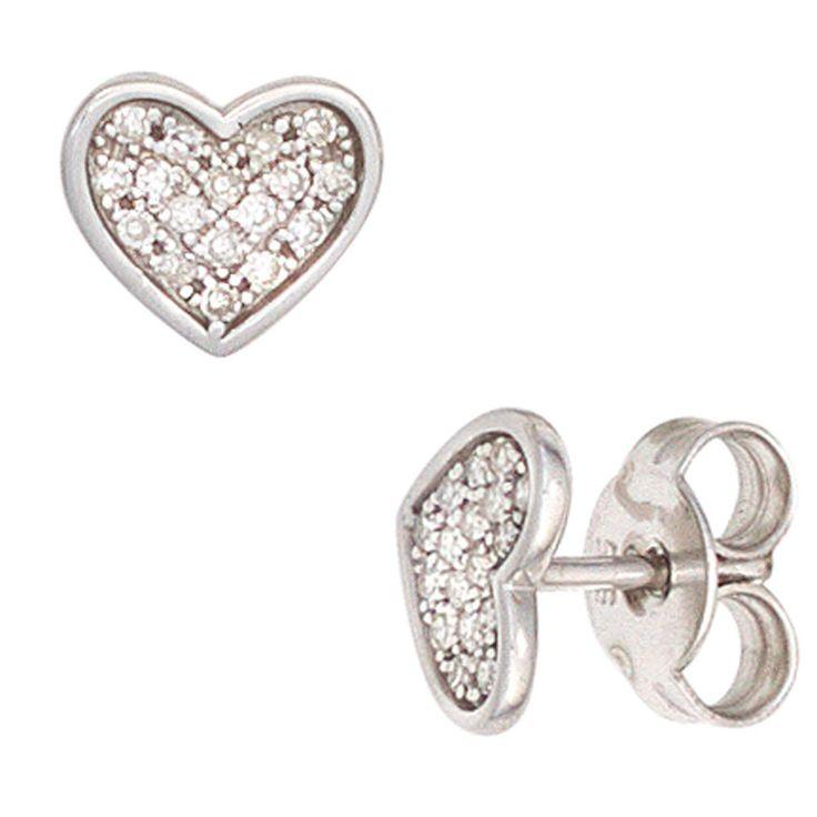 Ohrstecker Herz 585 Gold Weißgold 34 Diamanten 0,14ct. Ohrringe A32270