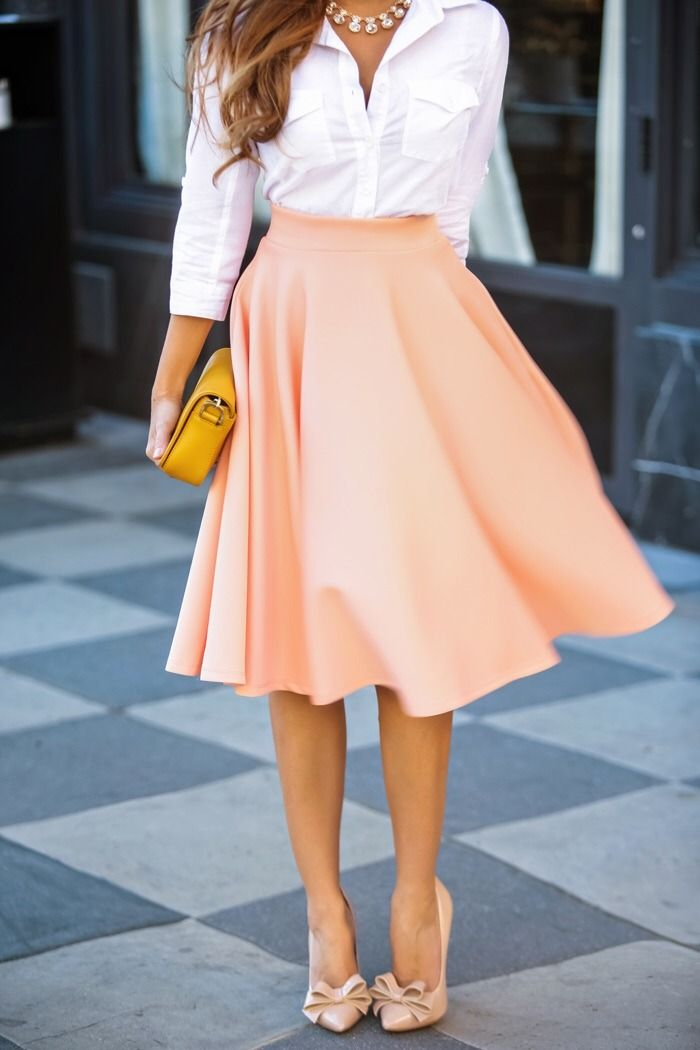 peach color skirt and lovely shoes + white blouse it's perfect for a wedding guest
