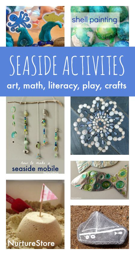 Seaside theme activities, beach art, seaside crafts and ideas for an under the sea topic.