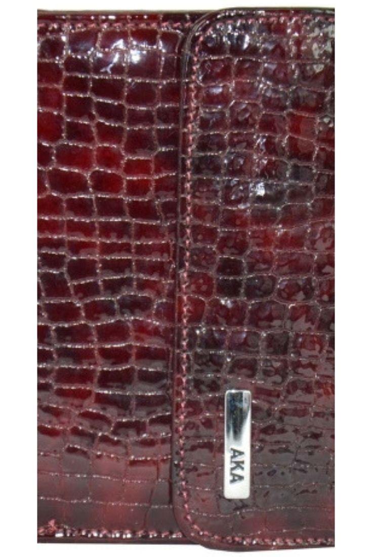 0c367e7a3012 КОШЕЛЕК ЖЕНСКИЙ КОЖАНЫЙ AKA бордовый рептилия на кнопке глянцевый маленькие  кошельки женские кожаные - портмоне из