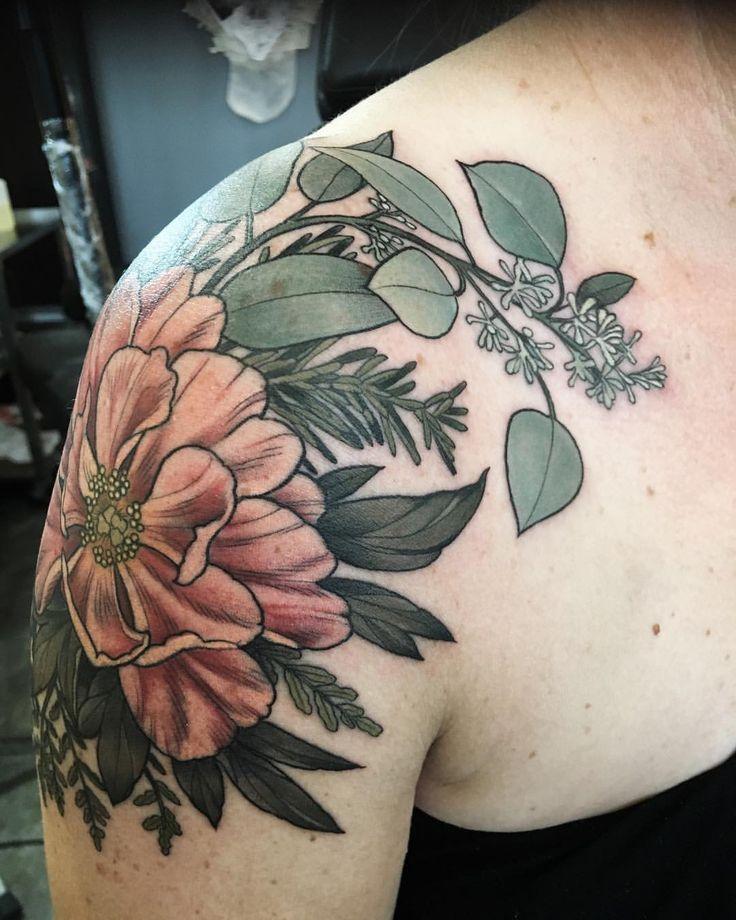 "1,547 Likes, 6 Comments - Wonderland Tattoo (@wonderlandpdx) on Instagram: ""#peony eucalyptus and foliage by Alice Kendall @alicestattoos #greenisgood"""