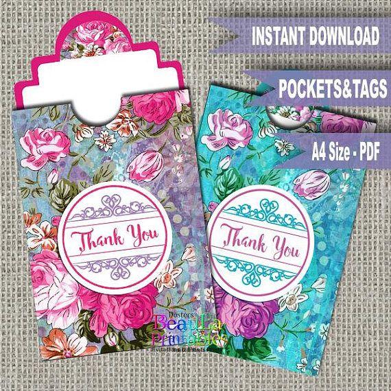 Printable Pocket Thank you Floral Tags Thank you pocket tag