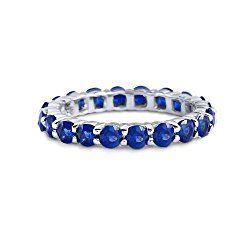 Blue Sapphire Eternity Ring 18K White Gold