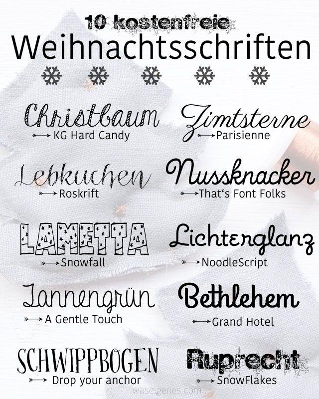 10 kostenfreie Weihnachtsschriften | schöne Weihnachtsschriften | waseigenes.com