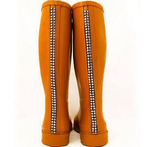 Orange Wellington Boots Zip Back Ladies Wellies Festival Wellys