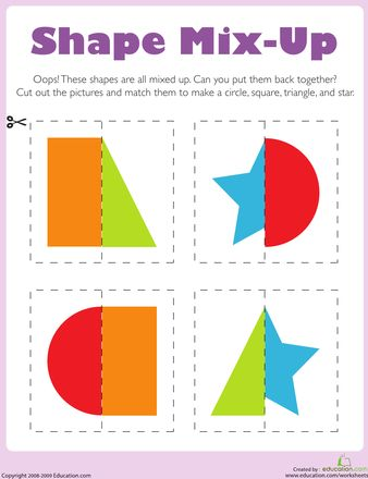 Kids cut out shapes to put these silly, mixed-up pictures back together. After your child puts the cut out shapes together, have her name and describe each shape. Kids completing this worksheet exercise thinking and fine motor skills, and also practice identifying and describing common geometric objects.
