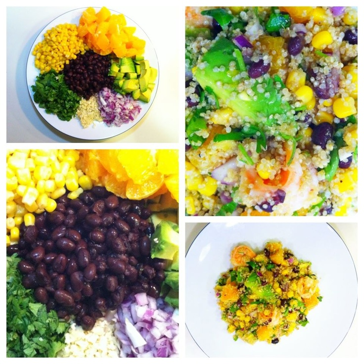 Superfood Salad: organic quinoa, avocado, black beans, sweet corn, cilantro, orange, red onion and shrimp, drizzled with a homemade lemon-garlic-olive oil vinaigrette...SO GOOD.