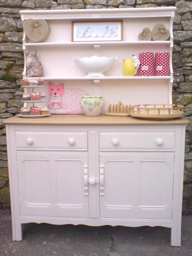Ercol Welsh dresser originally in dark oak,given a Shabby Chic makeover, rubbed down,given a pastel pink paint finish and waxed