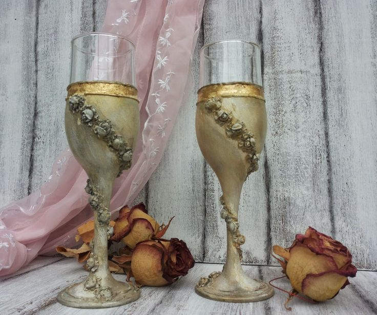 Martinel: Vintage gold glasses with roses - Златни чаши с ро...