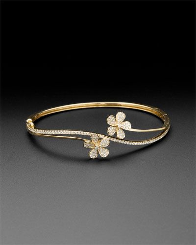 KC Designs 14K 0.92 cttw. Diamond Double Flower Bangle Bracelet