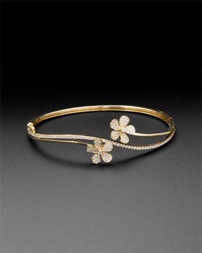 KC Designs 14K 0.92 cttw. Diamond Double Flower Bangle Bracelet