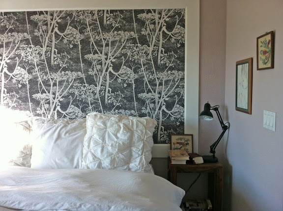 Love this DIY wallpapered headboard