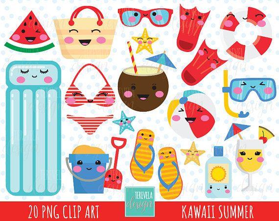 80% OFF SUMMER clipart, kawaii summer clipart, summer graphics, commercial use, beach clipart, kawaii clipart, summer party, pool, beach