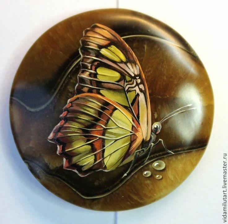 Бабочки на симбирците - бабочки,бабочка,весна,кабошон для украшений,живопись на камне