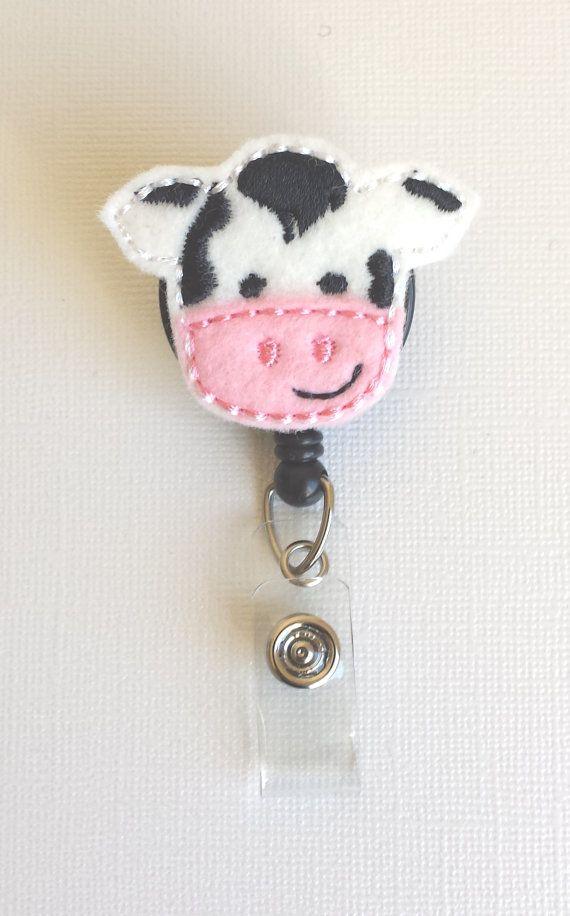 Cow Felt Badge Reel  Retractable ID Badge by SimplyReelDesigns, $6.00