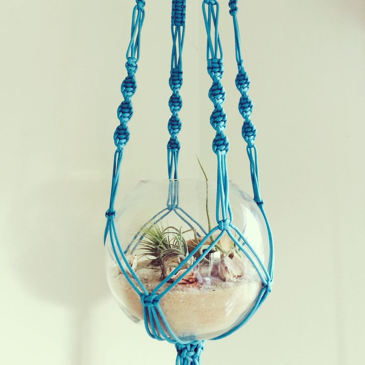 macrame plant hanger and beach air pod terrarium by 'the planter pod' #airplant #beach #wedding #decor