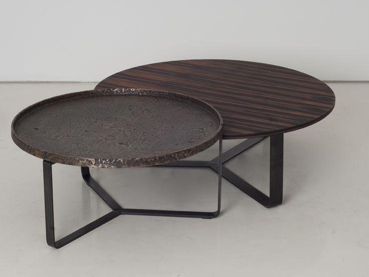 Round wooden coffee table YPSILON by INTERNI EDITION design Janine Vandebosch