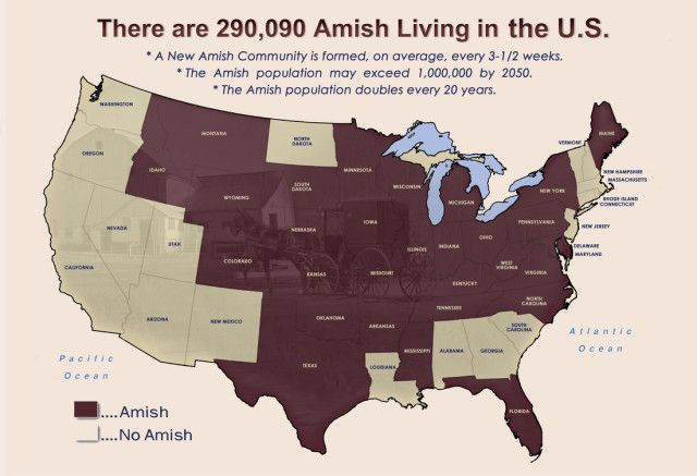 Map of the Amish living in the USA. | Amish and Mennonite ...