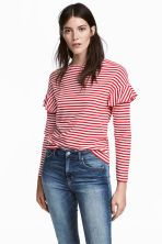 Bluză de jerseu cu volane - Roșu/cu dungi albe - FEMEI | H&M RO 1