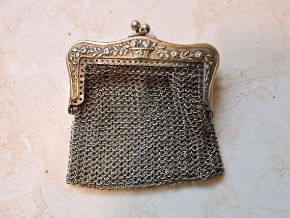 Chain Mal 3 Compartments Cahin Mail Vintage Change Purse  Coin