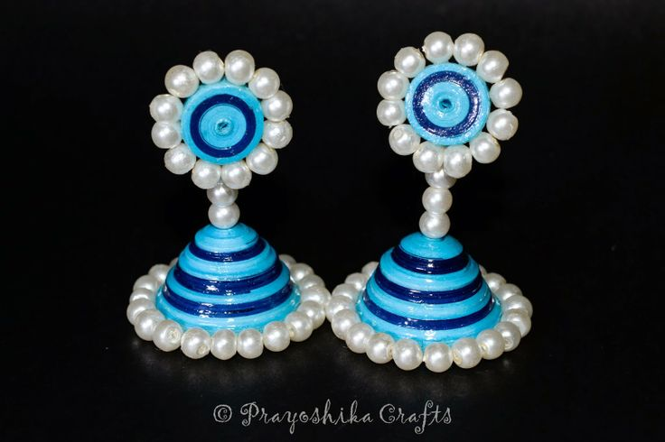 Prayoshika Crafts: Double color Jhumka with white beads... Model No....