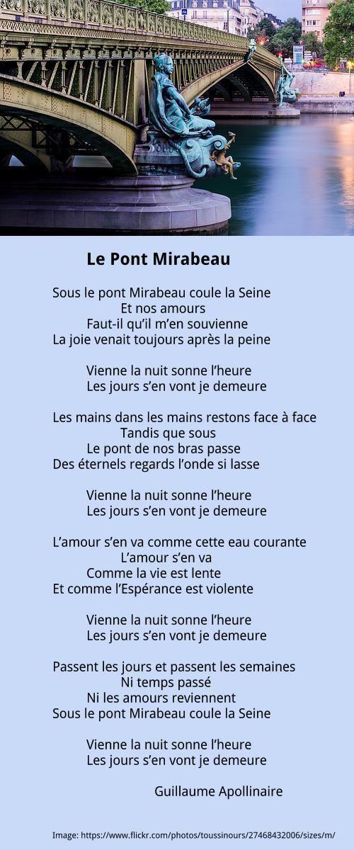 Lgtps,un amant!Le Pont Mirabeau | APOLLINAIRE Guillaume | À la française …