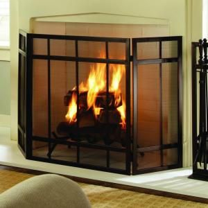 Pleasant Hearth Mission Style 3-Panel Fireplace Screen-FA017SB at The Home Depot