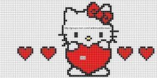 Free Hello Kitty with Hearts Cross Stitch Chart or Hama Perler Bead Pattern