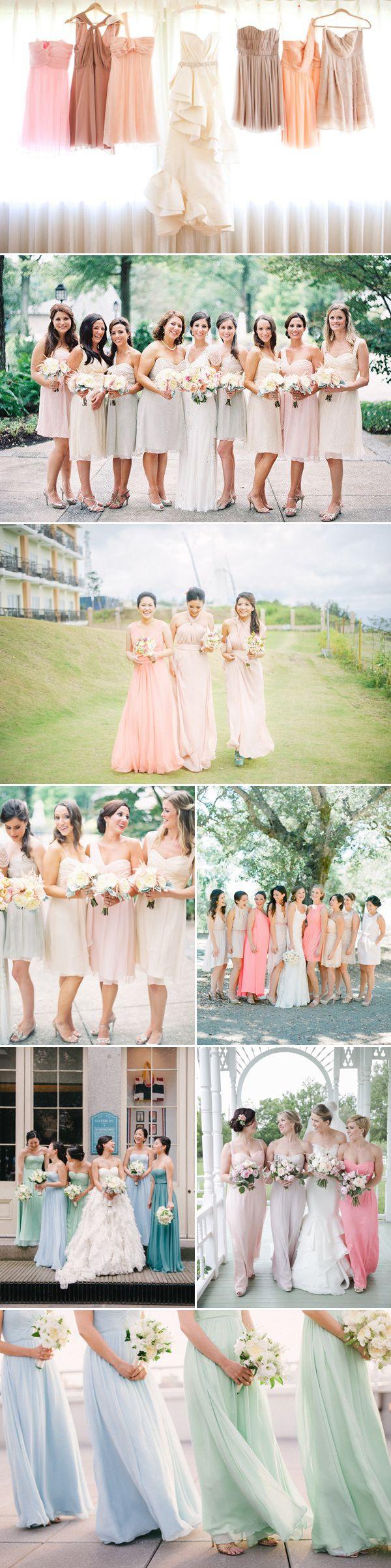 Pastel Mismatched Bridesmaid Dresses - Same Palette different styles... @k_pink03 @20miranda12 @sldaigle @lilymorgancuret @tahjsmama