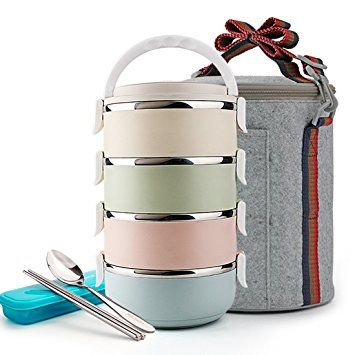 ZHNONE Portable Cute Stainless Steel Insulation Lunch Bento Box 4 Layer Food Carrier Container with Lunch Bag