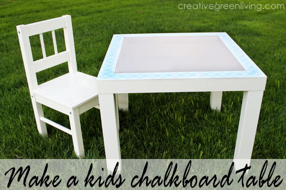 How to make a stenciled chalkboard table for kids. Functional for kids but looks cute, too!