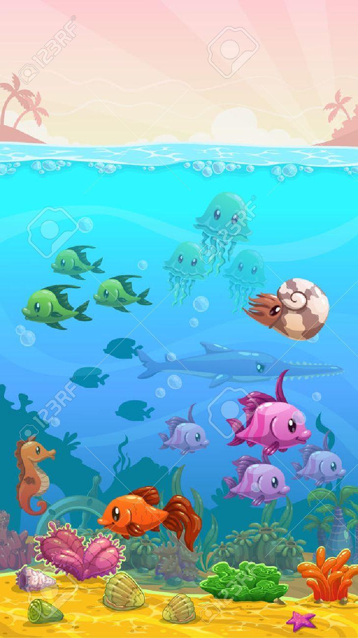 Vector Cartoon Underwater Tropical Illustration Vertical Wallpaper Mobile Phone Size Illustration Sp Tropical Illustration Illustration Phone Cover Design