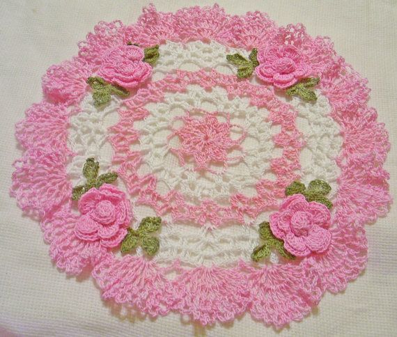 crocheted doily hand dyed pink with roses by isabellestreasures, $28.00