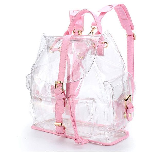 Girl Clear Backpack Cute Plastic Transparent School Bag (96 PEN) ❤ liked on Polyvore featuring bags, backpacks, pink plastic bags, print plastic bags, pink transparent backpack, plastic zip bags and plastic zipper bags